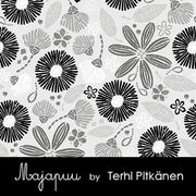 Majapuu Original Production: Digital jersey Flowerliscious by Terhi Pitkänen, light gray - gray