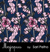 Majapuu Original Production: Digital jersey Rose wine, navy pink, design by Sari Pelho