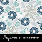 Majapuu Original Production: Digital jersey Flowerliscious by Terhi Pitkänen, petrol blue - mint