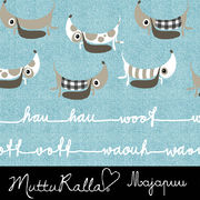 Majapuu Original Production: Digital jersey Woof Woof dogs by Mutturalla, Warm light turquoise, denim look