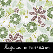 Majapuu Original Production: Digital jersey Flowerliscious by Terhi Pitkänen, light grey - green - brown