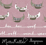 Majapuu Original Production: Digital jersey Woof Woof dogs by Mutturalla, light old rose, denim look