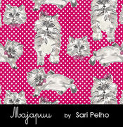 Majapuu Original Production: Digital jersey Polkadot Kittens Cherry design by Sari Pelho