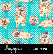 Majapuu Original Production: Digital jersey Polkadot Kittens Warm turquoise design by Sari Pelho