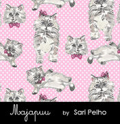Majapuu Original Production: Digital jersey Polkadot Kittens pink design by Sari Pelho