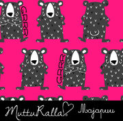 Majapuu Original Production: GOTS organic cotton Angry Bears, shock pink Design by Mutturalla