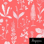 Majapuu Original Production: GOTS organic cotton Botanic, Coral Design by Anna Huhta