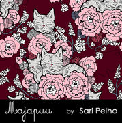 Majapuu Original Production: Digital jersey CozyCat, Burgundy - warm pink design by Sari Pelho