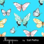 Majapuu Original Production: GOTS organic cotton Digital strech sweat: Butterflies, turquoise, Design by Sari Pelho