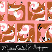 Majapuu Original Production: GOTS organic cotton FoxBox warm light pink - burned orange,  Design by Mutturalla