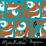 Majapuu Original Production: GOTS organic cotton FoxBox turquoise - burned orange,  Design by Mutturalla