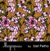 Majapuu Original Production: Digital jersey Rose wine, pink with printed glitter looking backround, design by Sari Pelho