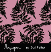 Majapuu Original Production: GOTS organic cotton Giant Fern, Dusty pink - black Design by Sari Pelho