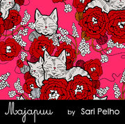Majapuu Original Production: GOTS organic cotton Digital strech sweat:  CozyCat, Warm bubblegum pink, Design by Sari Pelho