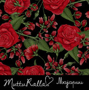 Majapuu Original Production: Digital jersey Hand drawn roses by Mutturalla, black - red