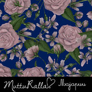 Majapuu Original Production: Digital jersey Hand drawn roses by Mutturalla, navy - light dusty pink