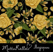 Majapuu Original Production: Digital jersey Hand drawn roses by Mutturalla, black - yellow