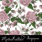 Majapuu Original Production: Digital jersey Hand drawn roses by Mutturalla, white, light rosa