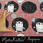Majapuu Original Production: GOTS organic cotton OOps! Gray - red - black,  Desing by Mutturalla
