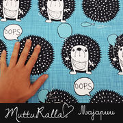 Majapuu Original Production: GOTS organic cotton OOps! Turquoises,  Desing by Mutturalla