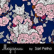 Majapuu Original Production: Digital jersey CozyCat, Marine blue - warm pink design by Sari Pelho