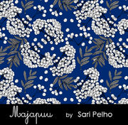 Majapuu Original Production: Digital jersey Rowanberry, navy blue design by Sari Pelho