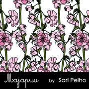 Majapuu Original Production: Digital jersey Rose wine, white- pink, design by Sari Pelho